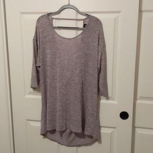 Torrid Gray High-Low 3/4 Sleeve Tunic
